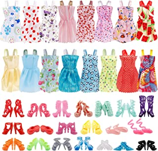 UPINS 16 Pack Doll Clothes Accessory Party Grown Clothes Outfit and 20 Pairs Doll Shoes Compatible with Barbie Doll