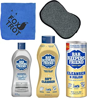 Bar Keepers Friend Cleanser Trio - Mega Bundle (21 Oz Cleanser & Polish Powder | 26 Oz Liquid Soft Cleanser | 13 Oz Cooktop Cleaner) Plus 1 Foxtrot� Microfiber Towel & 1 Microfiber Scrubber Sponge