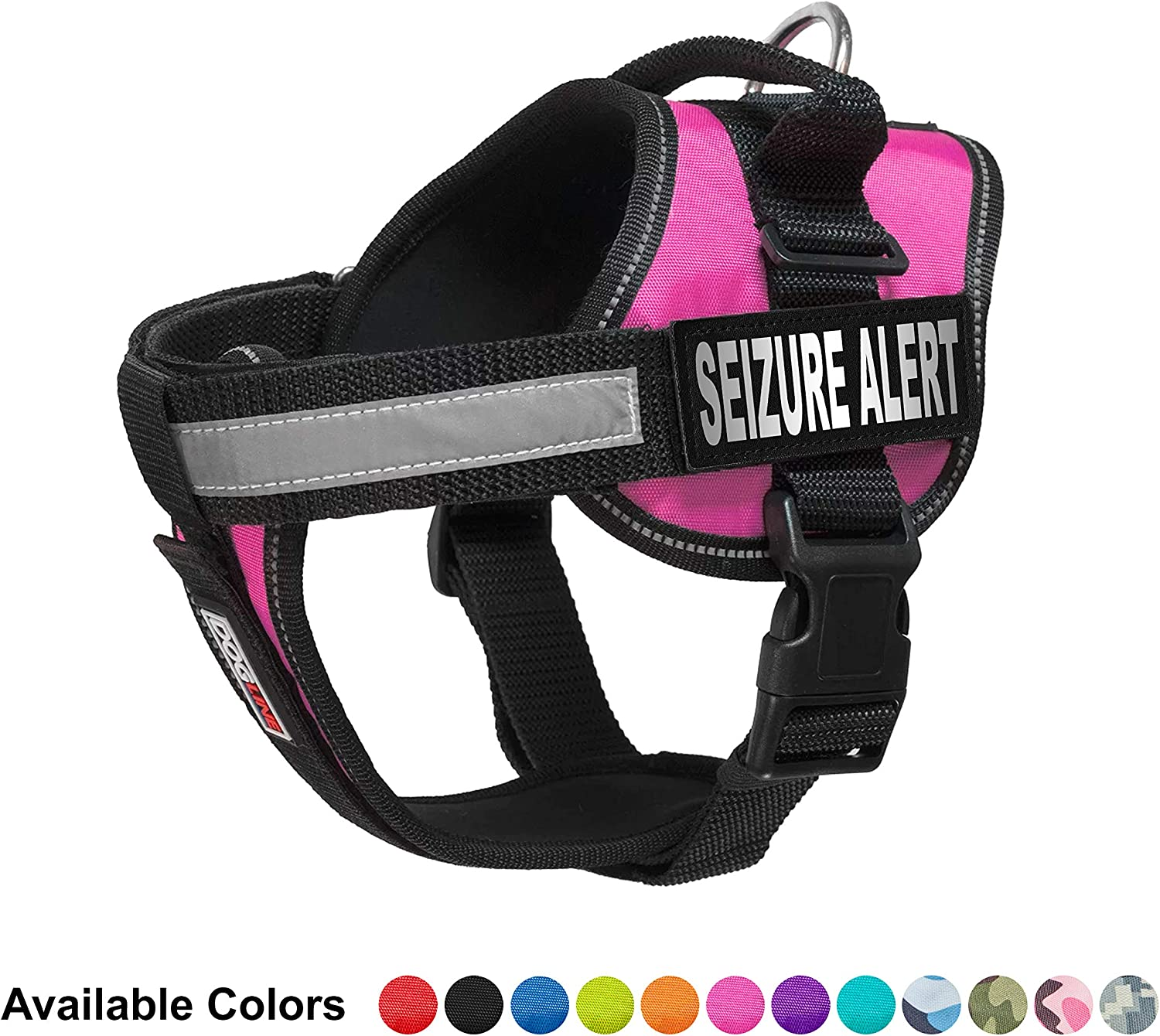 Dogline Unimax MultiPurpose Vest Harness for Dogs and 2 Removable Seizure Alert Patches, Medium, Pink