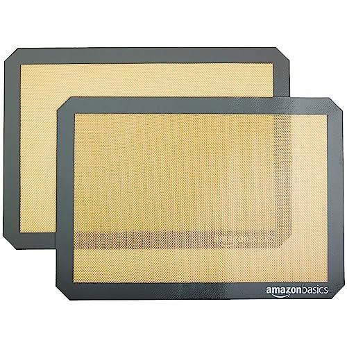 Amazon Basics Silicone, Non-Stick, Food Safe Baking Mat - Pack of 2