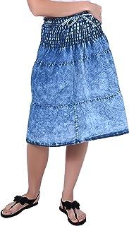 Franclo Women'S Blue Skirts(Ski-Mini-0398_Blue_Free Size)