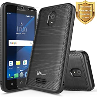 Alcatel IdealXCITE Case, Alcatel Raven LTE (A574BL), Alcatel CameoX/Alcatel Verso / U50 Case with [Tempered Glass Screen Protector], NageBee [Carbon Fiber Brushed] Dual Layer Hybrid Case -Black