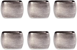DII Modern Chic Napkin Rings for Dinner Parties, Weddings Receptions, Family Gatherings, or Everyday Use, Set Your Table With Style - Beaded Texture Silver Square, Set of 6