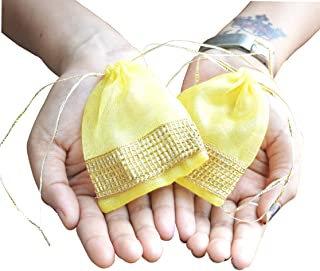 LINE 'N' CURVES Small Yellow Tissue Fabric Handmade Potli/Pouches, Small Favor Gift Bag, Silver- Golden Coin Pouches (Set of 50 Pouches)