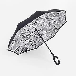 Star Unbrella, CAMTOA Travel Umbrella Double Layer Windproof Reverse Umbrella for Car and Outdoor
