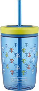 Rubbermaid Straw Kids Tumbler, 16 oz, Varsity Blue Anchors Away