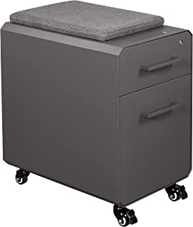 VARIDESK - Slim Storage Seat - Rolling Locking Storage Filing Cabinet with Seat Top