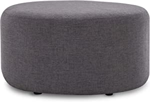 "BELLEZE Modern 24"" Round Upholstered Pouf Fabric Footstool Rest Living Room Ottoman, Grey"