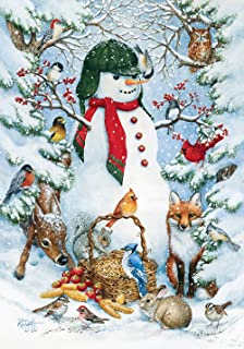 Toland Home Garden Woodland Snowman 28 x 40 Inch Decorative Winter Snow Forest Animal House Flag - 109377