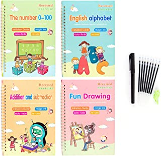 Larger Magic Practice Copybook for Kids, Calligraphic Letter Drawing Mathematics Addition and Subtraction Writing Tool. Re...