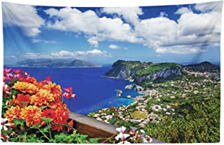 Lunarable Island Tapestry, Scenic Capri Island, Italy Mountain Houses Flowers View from Balcony Landmark, Fabric Wall Hanging Decor for Bedroom Living Room Dorm, 45