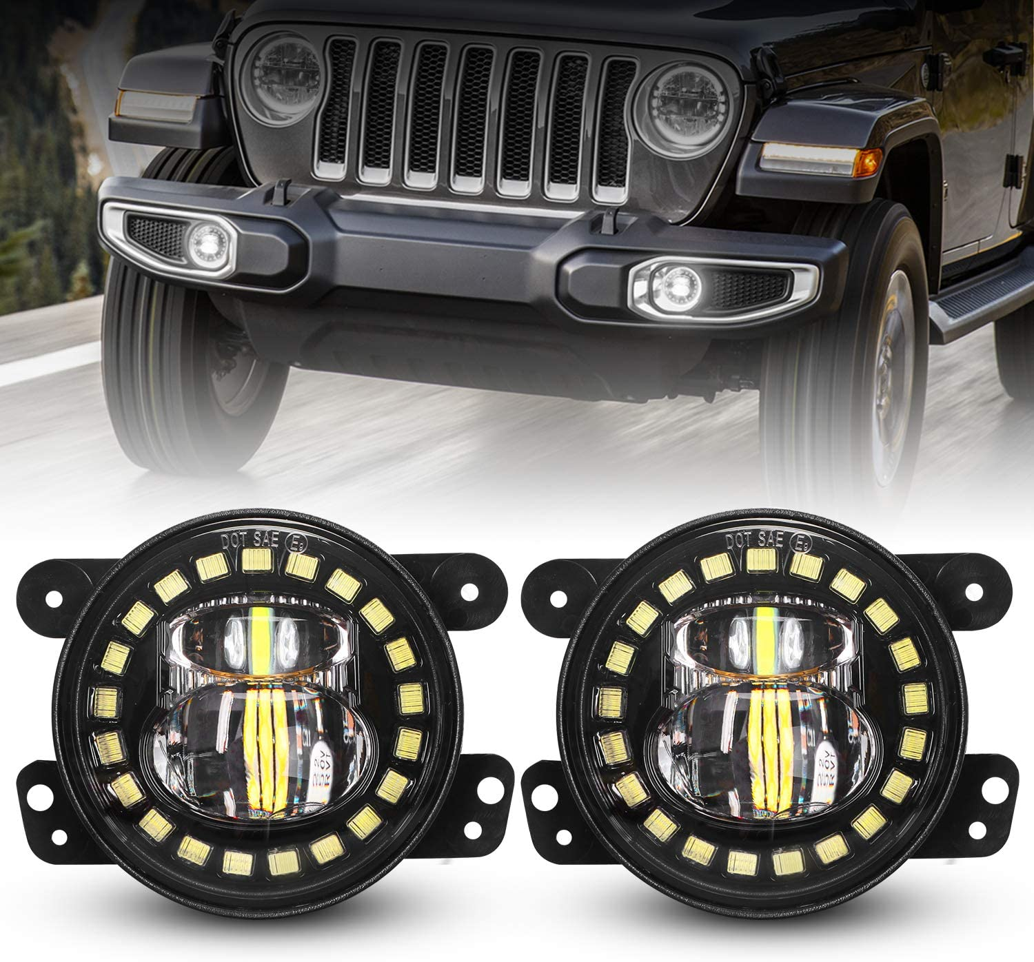 DOT Approved Black 4 Inch LED Fog Ranking TOP14 Ring fo Halo White Quality inspection Lights with