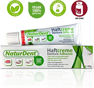Natural Strong Denture Adhesive NaturDent holds Dentures Longer and Stronger No Zinc No Petrochemical No Paraben No Yucky Taste
