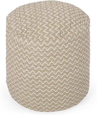 Christopher Knight Home Chloe Boho Fabric Cylinder Pouf, Natural