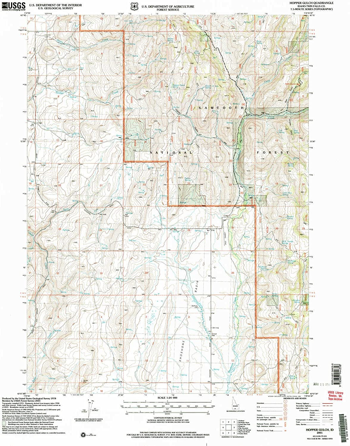 Hopper Gulch ID topo map, 1 24000 Scale, 7.5 X 7.5 Minute, Historical, 2001, Updated 2006, 26.9 x 22 in