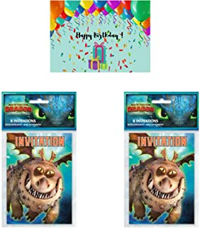 How to Train Your Dragon Birthday Party Invitations - 16 Cards Bundled with a Birthday Card by JPMD Party House