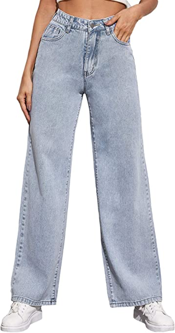 SheIn Women's High Waist Boyfriends Jeans Wide Leg Denim Long Pants with Pockets