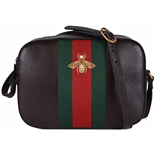 87066eaff7 Gucci Women's Leather Red Green Web BEE Crossbody Handbag (Brown)