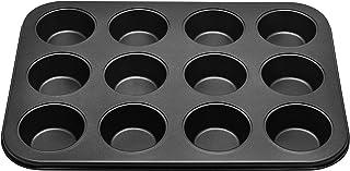 RK NON STICK MUFFIN TRAY BAKING PAN CUPCAKE PAN 12 CUP, black