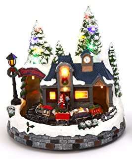 Lighted Animated Christmas Village Scene with Church or Train Station - Holiday Decoration (Train)