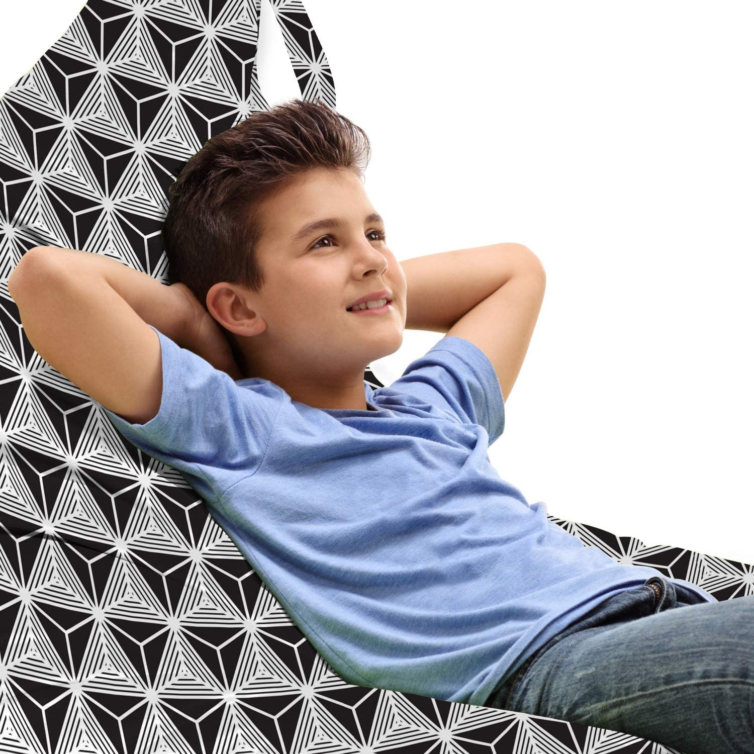 Ambesonne Geometric Lounger Chair Bag Abstrac Grid High free shipping quality Contemporary