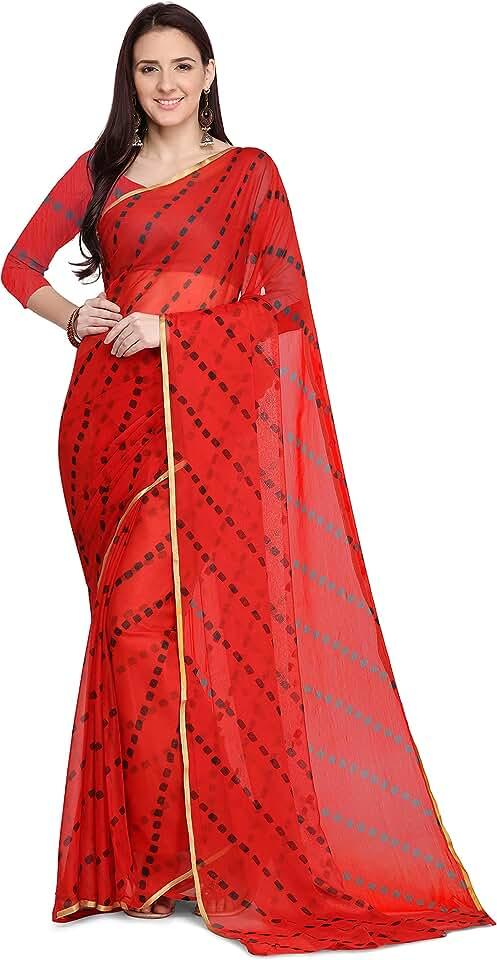 Indian Anni Designer Women's Chiffon Printed Saree With Blouse Piece (NIVEDITA RED_Free Size) Saree