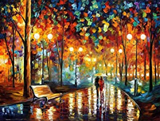 1000 Piece Wooden Puzzle - Romantic Oil Painting Walk in The Rain at Night Jigsaw Puzzles, Challenging Puzzle Artwork Game...