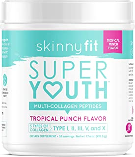 SkinnyFit Super Youth Multi-Collagen Peptide Powder Tropical Punch Flavor, Hair, Skin, Nail, Joint Support, 58 Servings