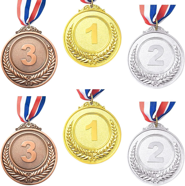 6 Piezas Ganadores Medallas Oro,Medallas de Metal,Ganador de Metal medallas de Oro, Bronce y Plata con Cinta para el Cuello,para Fiesta, Recompensa, Niños Fiesta Deportiva, Competencia