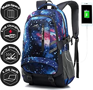 Galaxy Backpack Bookbag for School Student College Business Travel with USB Charging Port Fit Laptop Up to 15.6 Inch Night Light Reflective Anti Theft (Galaxy)