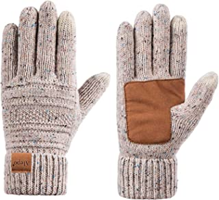 Womens Wool Winter Warm Knit Gloves, High Sensitive Touch Screen Thick Thinsulate Lined Anti-Slip Cable Cuff Driving Gloves