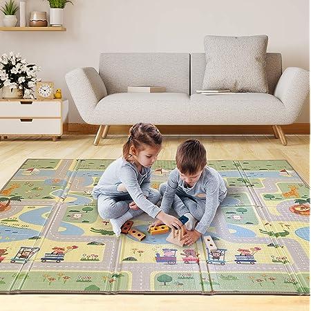 Alfombra Gateo Infantil Impermeable, Reversible y Plegable. Esterilla Bebe Ideal para la habitación del niño o la niña. Gran formato 197x147cm SUPERBE BEBE®
