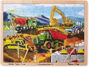 Melissa & Doug Construction Vehicles Building Site Wooden Jigsaw Puzzle (Beautiful Original Artwork, 48 Pieces, Great Gift for Girls and Boys - Best for 3, 4, and 5 Year Olds)