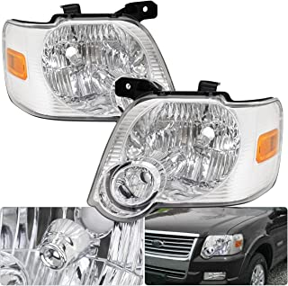 For Ford Explorer/Sport Trac Chrome Housing Clear Lens Amber Turn Side Signal Headlight Head Light Lamp Upgrade Replacement