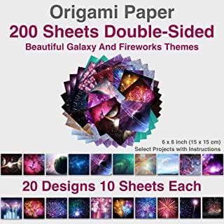 Premium Origami Paper 6x6 inch Double Sided 200 Sheets, 20 Vibrant Designs of Beautiful Galaxy Outer Space and Fireworks Themes, Easy Folding for Paper Arts Crafts, Kids & Grown-ups, School Teachers