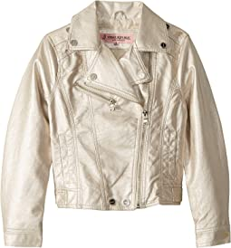 Olivia Faux Leather Metallic Moto Jacket (Little Kids/Big Kids)