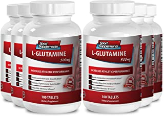 Amino acids supplements for men - L Glutamine 500mg - Curbs alcohol cravings (6 Bottles - 600 Tablets)