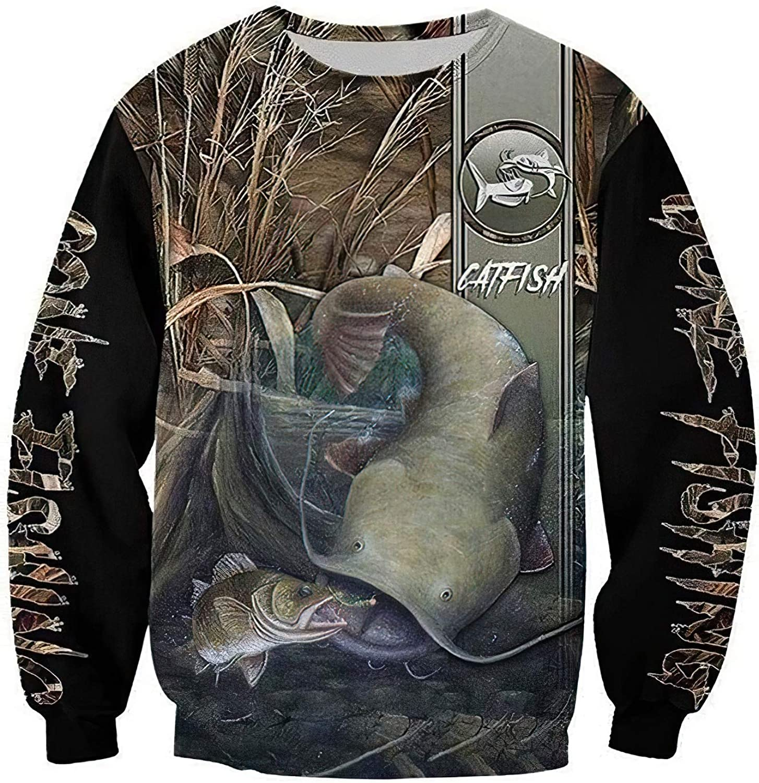 Catboroz Fishing 4 years warranty Catfish Ranking TOP5 3D Hoodie T-Shi Long Sweatshirt Sleeved
