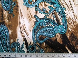 Discount Fabric Printed Jersey Knit ITY Stretch Turquoise Paisly Storm Clouds A401