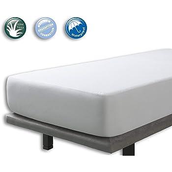 Protector Rizo impermeable para colchon de 80x190/200. Rizo algodón 100% con tratamiento de Aloe Vera: Amazon.es: Hogar