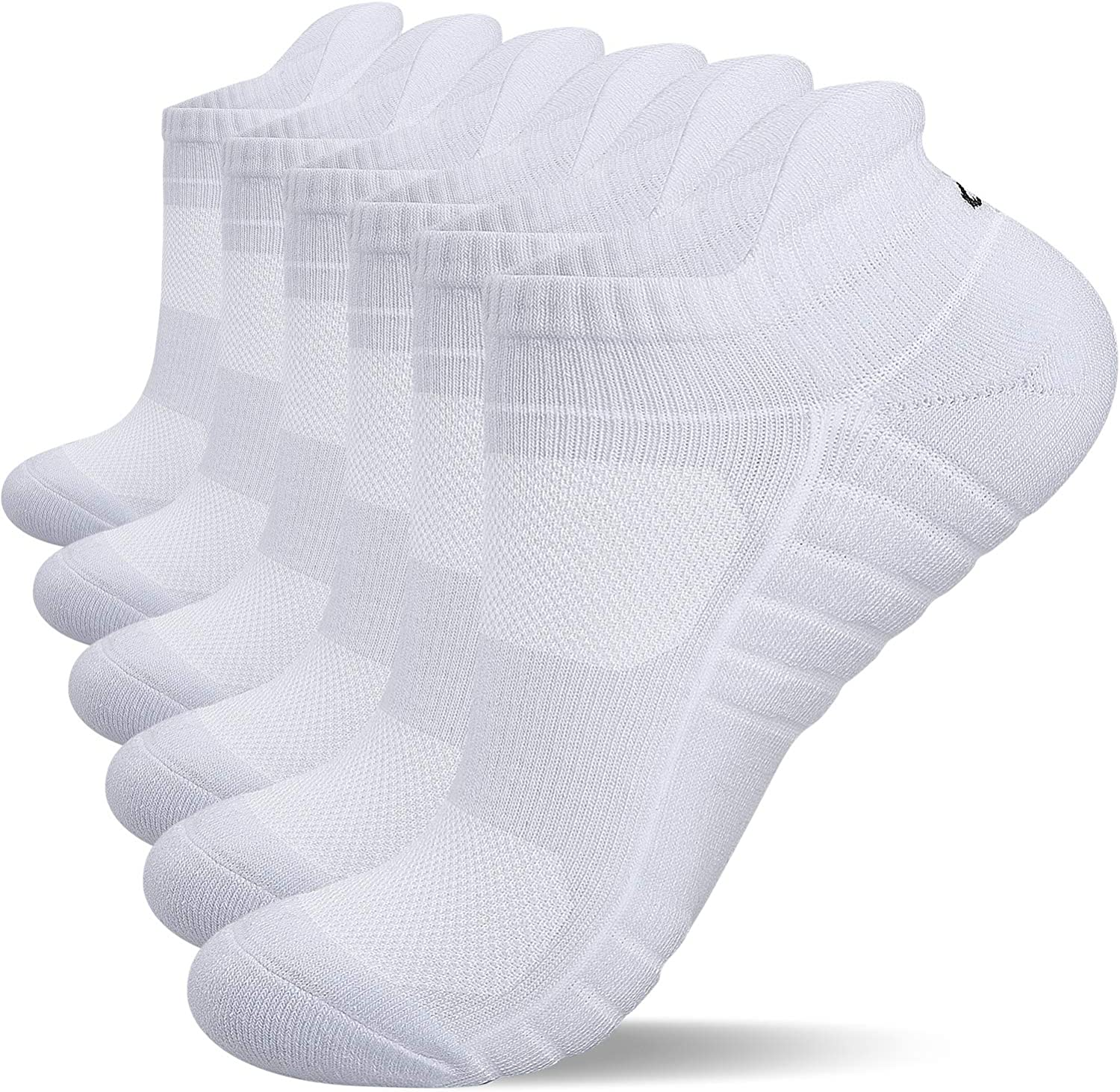 Anqier Trainer Socks Cushioned Odor-free Thermal Sports Socks Running Socks for Men Women Ladies No Itching Low Cut Athletic Socks Cotton Ankle Socks 6 Pairs