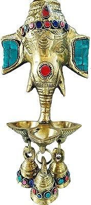 GoldEpoch Brass Ganesha Wall Hanging with Stones | Ganesha 3 lit Diya with Bell | (11cmX 8cmX 24 cm)