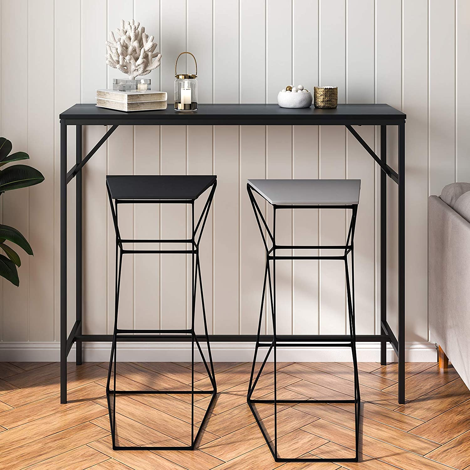 """YITAHOME Bar Table, 9.9"""" Long Bar Height Table Narrow Desktop, Classic Bar  Table Set for Pub Cafe Kitchen Dining Room Living Room, Sturdy Legs, Quick  ..."""