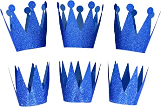 Party Crowns Prince & Princess Birthday Party Hats Crown Set of 6, Blue
