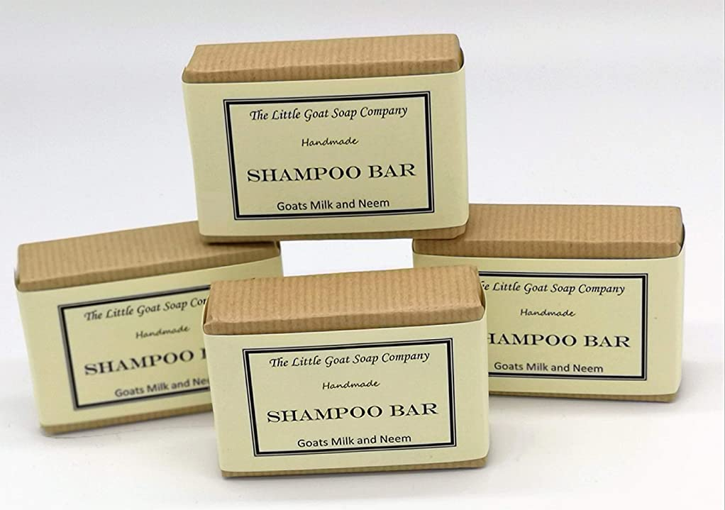 効能ある飛び込む暗記するShampoo Bar - Goats Milk and Neem Oil 4 x 100G by The Little Goat Soap Company
