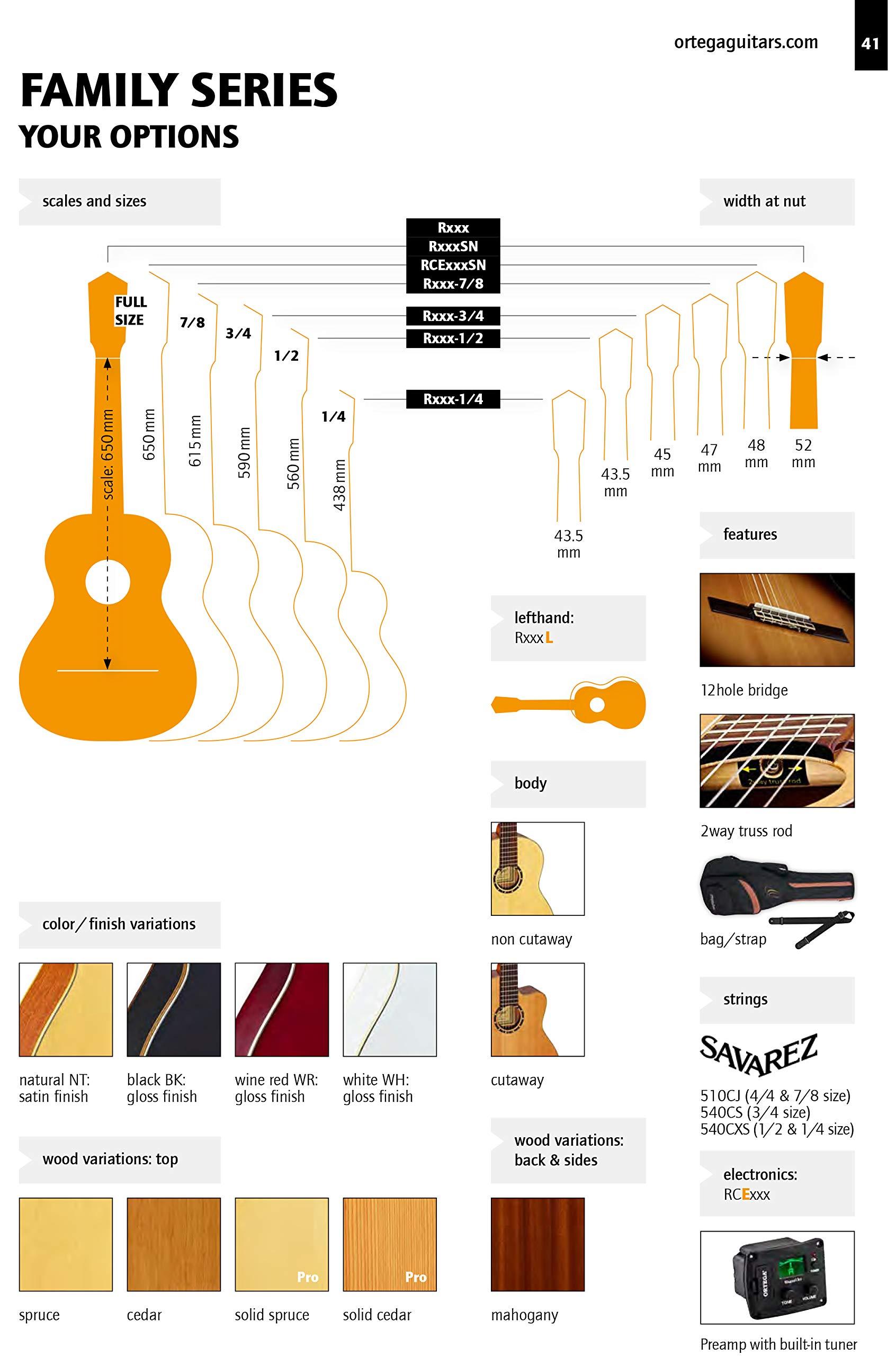 Ortega R121-4/4 - Guitarra clásica, abeto y caoba, tamaño 4/4 ...