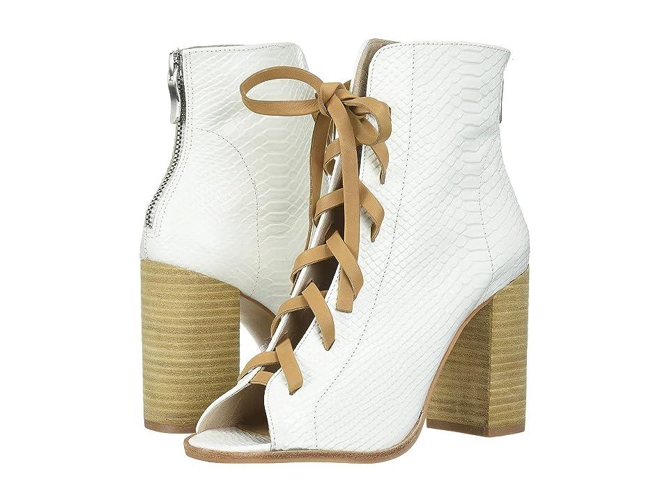 Kristin Cavallari Layton Peep Toe Bootie (White Snake Leather) Women