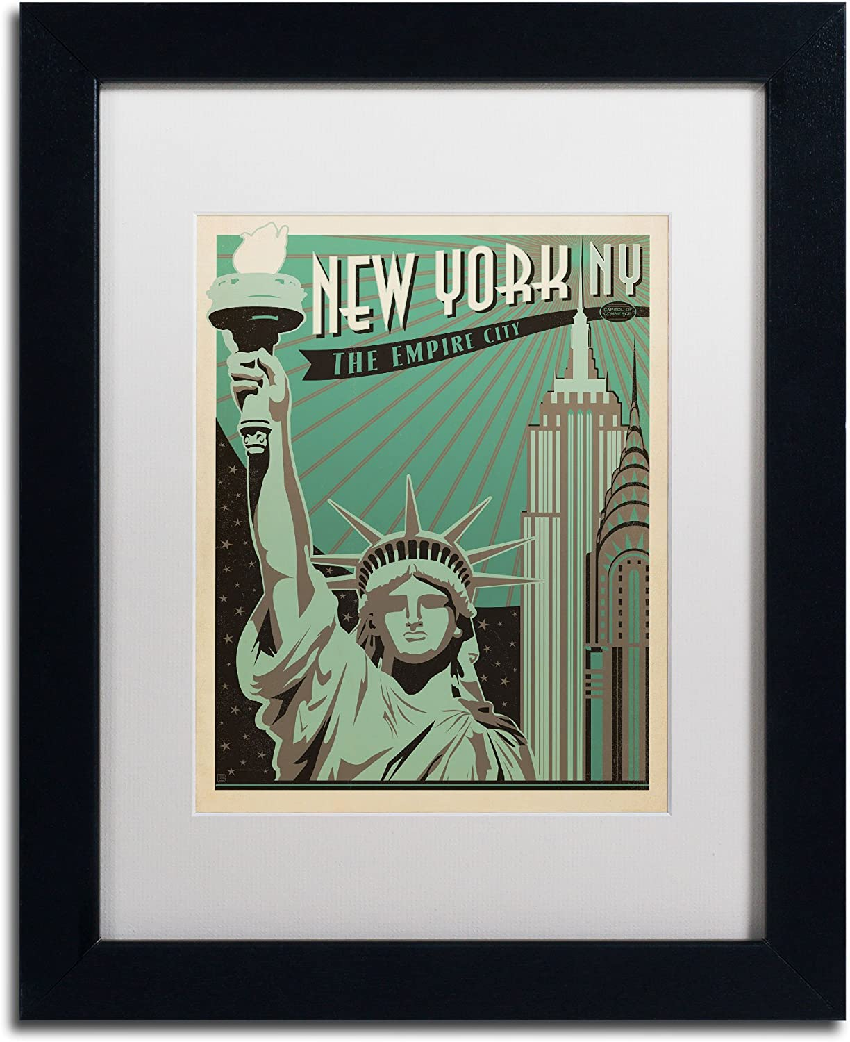 Trademark Fine Art New York NY Canvas Artwork by Anderson Design Group, 11 by 14Inch, White Matte with Black Frame
