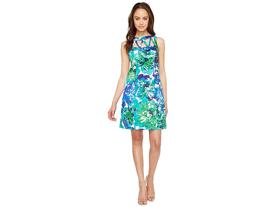 Adrianna Papell Printed Stretch Cotton A-Line Shift Dress (Blue Multi) Women