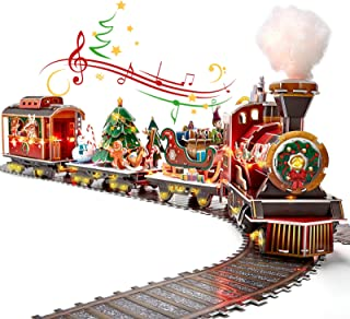 3D Puzzle for Adults Kids LED Christmas Train Sets for Under Christmas Tree, Musical Steam Santa Express Christmas Decorat...